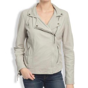 Lucky Brand Leather Moto Jacket Ivory Full Zip S